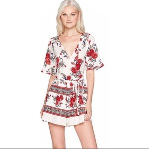 Floral Shorts Romper Palm Print Low Cut Backless